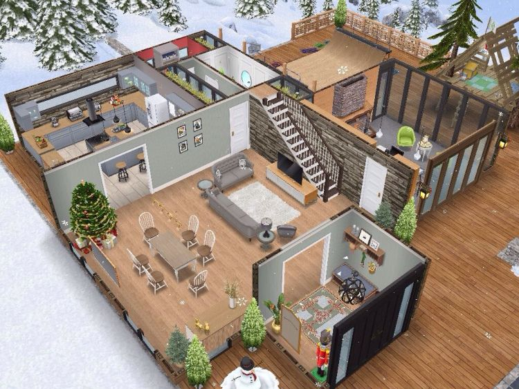Snow Chalet By Yours Truly Sims House Design Sims House Sims House Plans