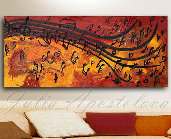 Abstract Music Notes Art: Abstract Print, Musical Notes, Music Painting, Abstract
