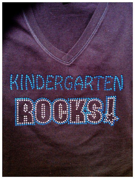 c17561371 Rhinestone Bling Teacher Kindergarten ROCKS Shirt- Team