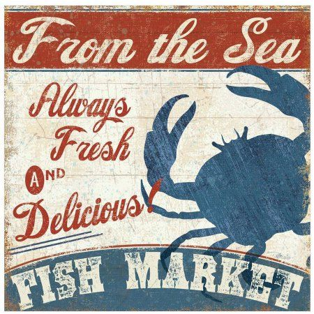 Fresh Seafood Iv by Eazl Premium Gallery Wrap, Size: 24 x 24, Brown