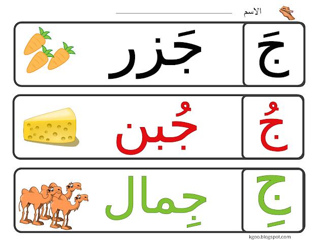 الأبجدية العربية حرف الجيم Alphabet Flashcards Learning Arabic Arabic Alphabet