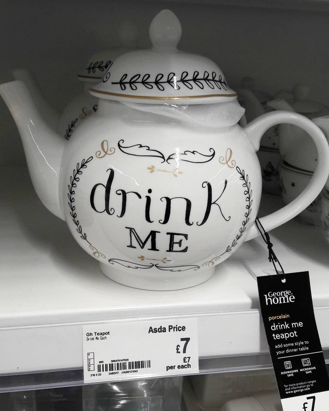 Alice In Wonderland Inspired Teapot From Asda Disney Disneygram Disneystyle Disneyhome Disneycollection Aliceinwonderland Tea Pots Porcelain Teapot Tea