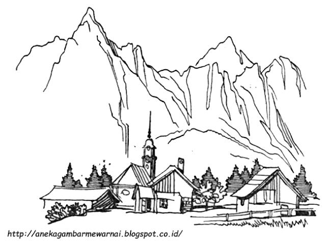 Aneka Gambar Mewarnai Gambar Mewarnai Pegunungan Untuk Anak Paud