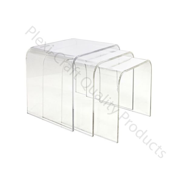 The Lucite Nest Of 3 Tables Can Be Used Individually Or Nested Together.  Depending On