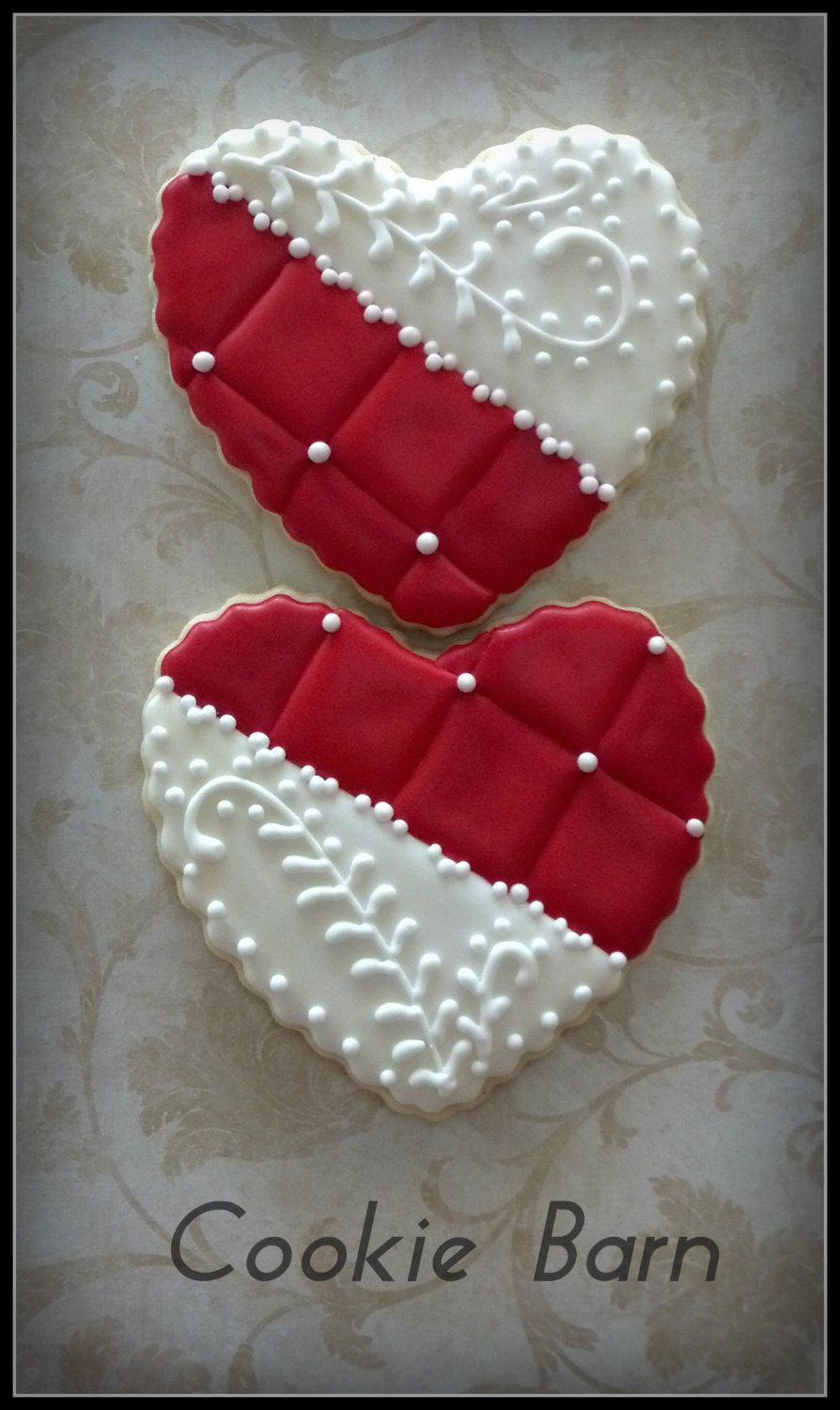 Heart Wedding Anniversary Decorated Cookies by CookieBarn