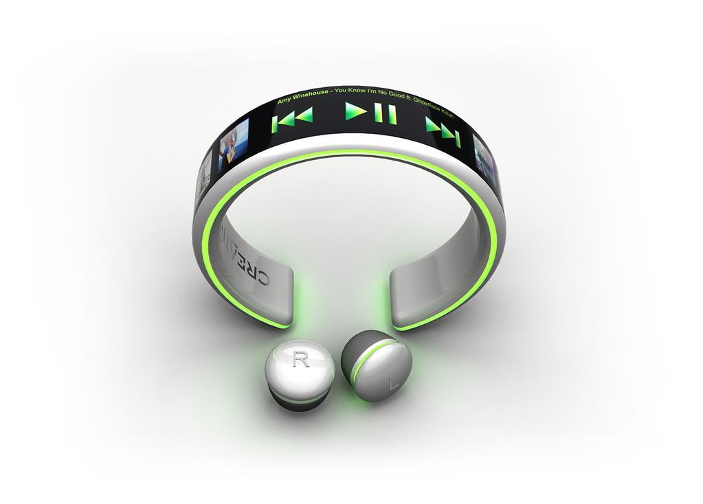 """Brazilian designer Dinard da Mata has developed a wearable gadget that becomes a fashion accessory to complement the style of next-gen users. Known  as """"MP3 Player Creative"""" the portable music player sports a flexible OLED screen that other than displaying the playlist also lets the user select the song or control volume with just a touch of a finger. Worn around the wrist like a bracelet, the MP3 concept gives easy access of the functions to the user."""