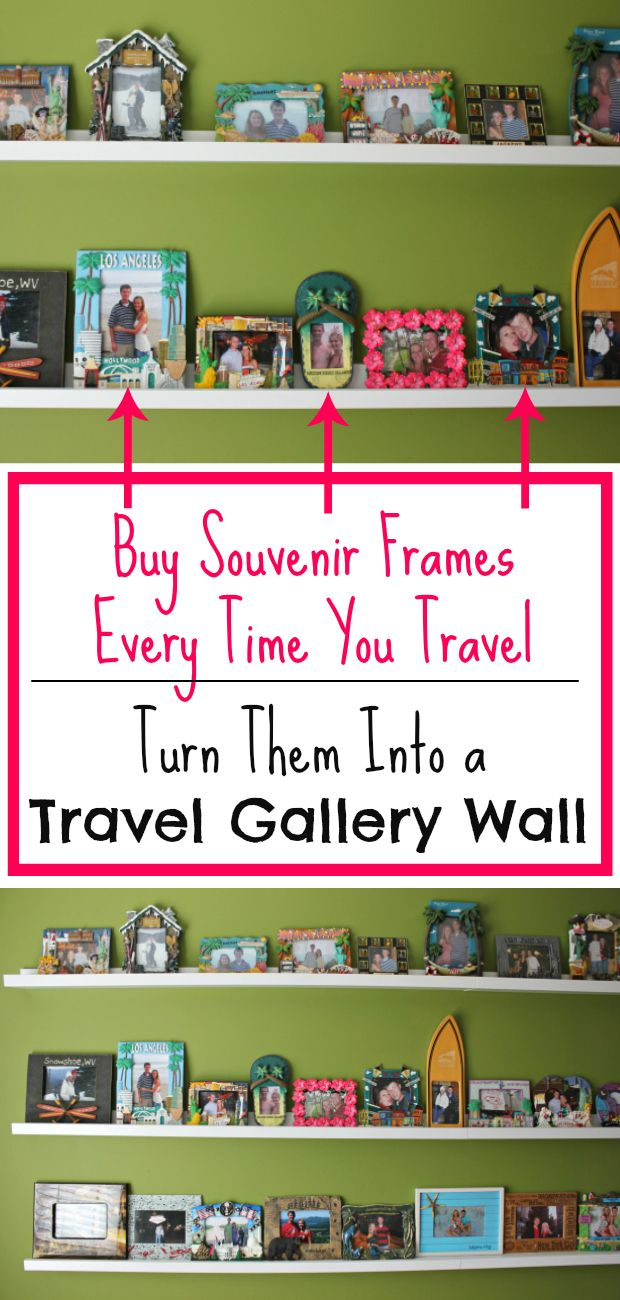 Buy souvenir frames every time you travel, snap a picture of yourself at your destination, and create an amazing travel gallery wall!  I'm sharing how we created our massive collection that is still growing and discussing why you need one, too!