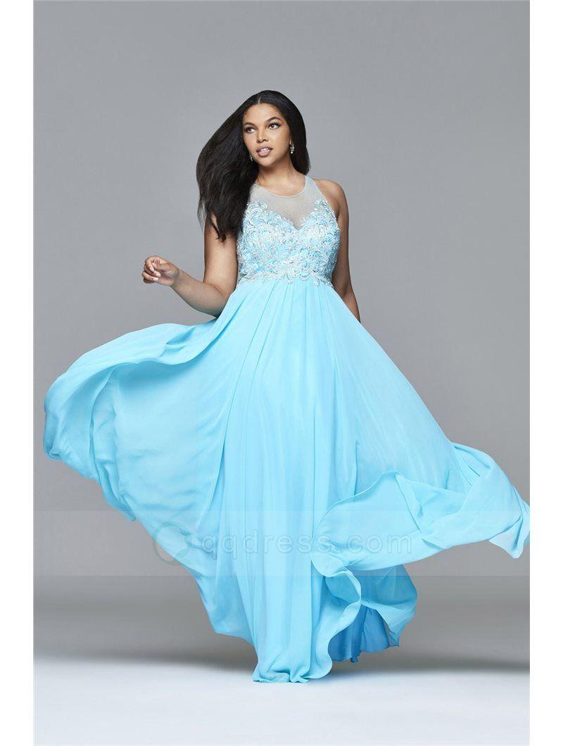 Buy A-line Floor-length Beaded Bodice Chiffon Plus Size Prom Dress ...