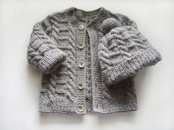 6ea3f0685 Hand Knitted Baby Cardigan and Hat - Grey