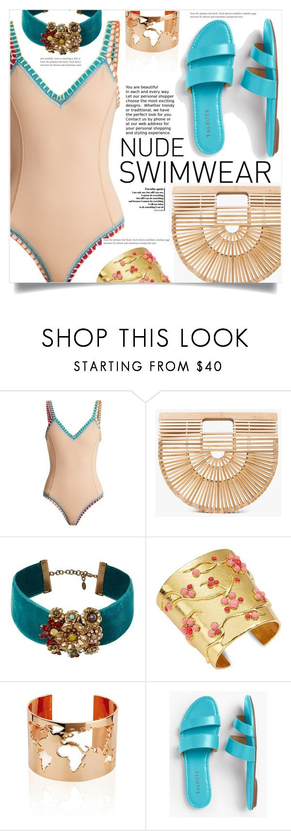 """Bare It All: Nude Swimwear"" by dolly-valkyrie ❤ liked on Polyvore featuring kiini, Cult Gaia, Elizabeth Cole, Oscar de la Renta, Talbots and nudeswimwear"