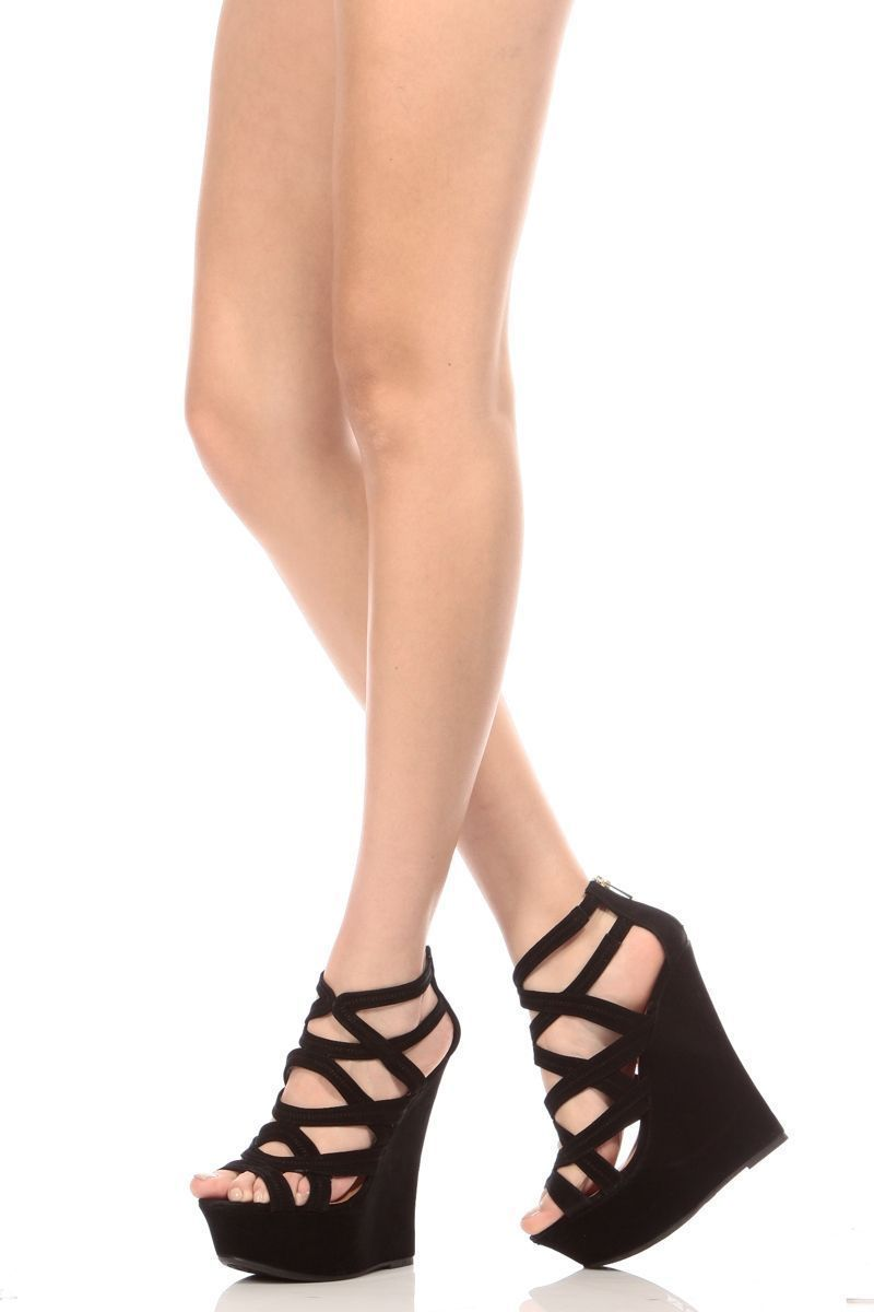 b833239e0b7 Black Faux Suede Strappy Open Toe Platform Wedges @ Cicihot Wedges ...