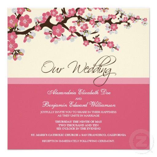 Cherry Blossom Wedding Invitation Pink Zazzle Co Uk Cherry Blossom Wedding Invitations Cherry Blossom Wedding Pink Wedding Invitations