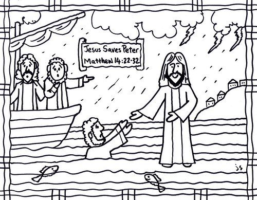 Jesus Walks on Water Bible card Jesus Walks on Water coloring