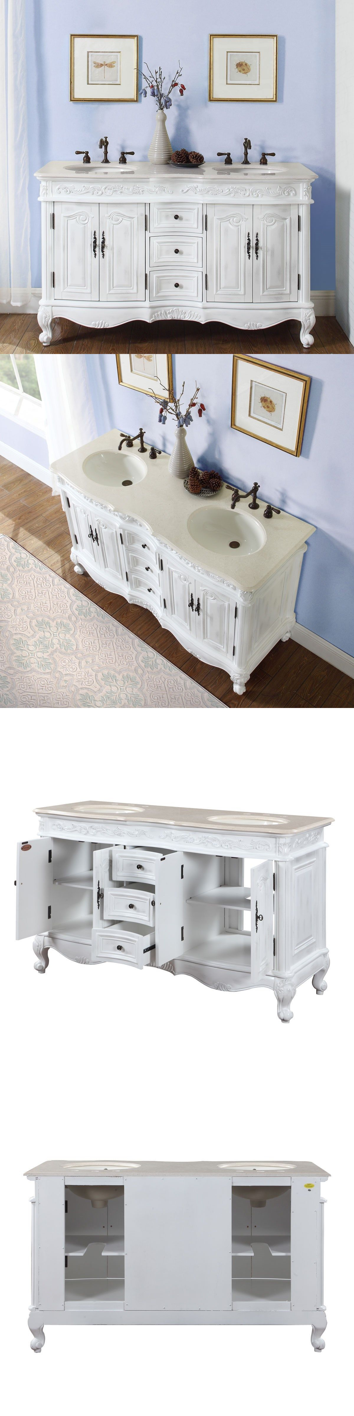 Vanities 115625: 58-Inch Creamy Marble Stone Top Bathroom Vanity Double  Sink Bath Cabinet