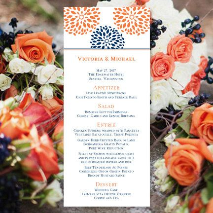 """Printable Wedding Menu Template """"Floral Petals"""" Navy & Orange   ALL COLORS Available   Instant Download   Microsoft Word   You Print"""