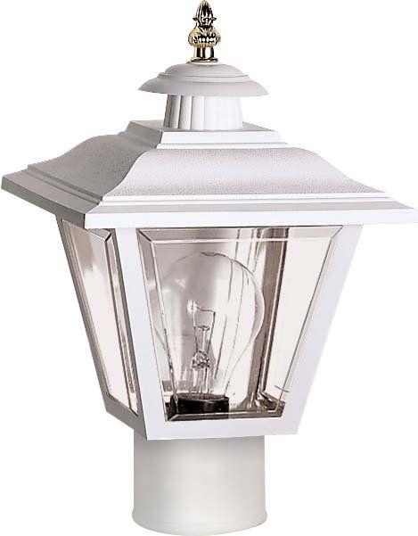 "White Outdoor Lights Nuvo Lighting 77899 Single Light 13"" Coach Post Lantern With Brass"