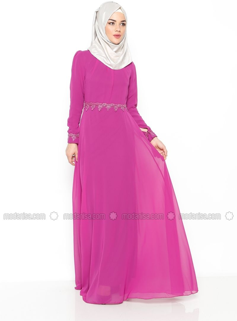 Guipure Detailed Evening Dress - Dark Fuchsia - Mileny | muslim ...
