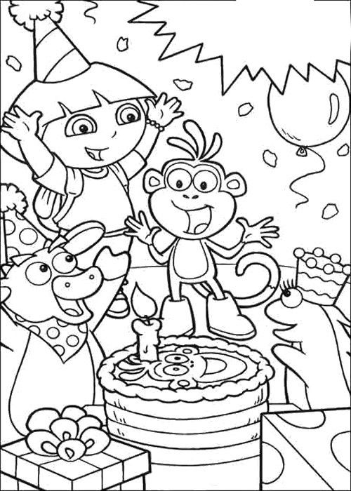 Dora Happy Birthday Card Coloring Page Birthday Coloring Pages
