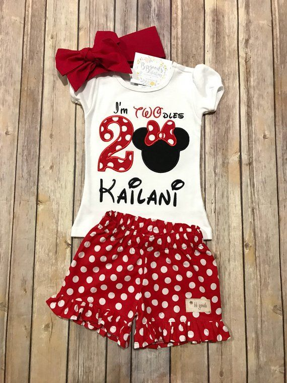 e61edae44 I'm TWO-dles Birthday Outfit - RED - Minnie Mouse Birthday Outfit - Minnie  Birthday - Im Twodles Shi
