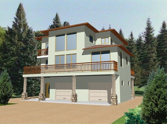 Hillside and view lot modern home plans about modern Hillside garage plans
