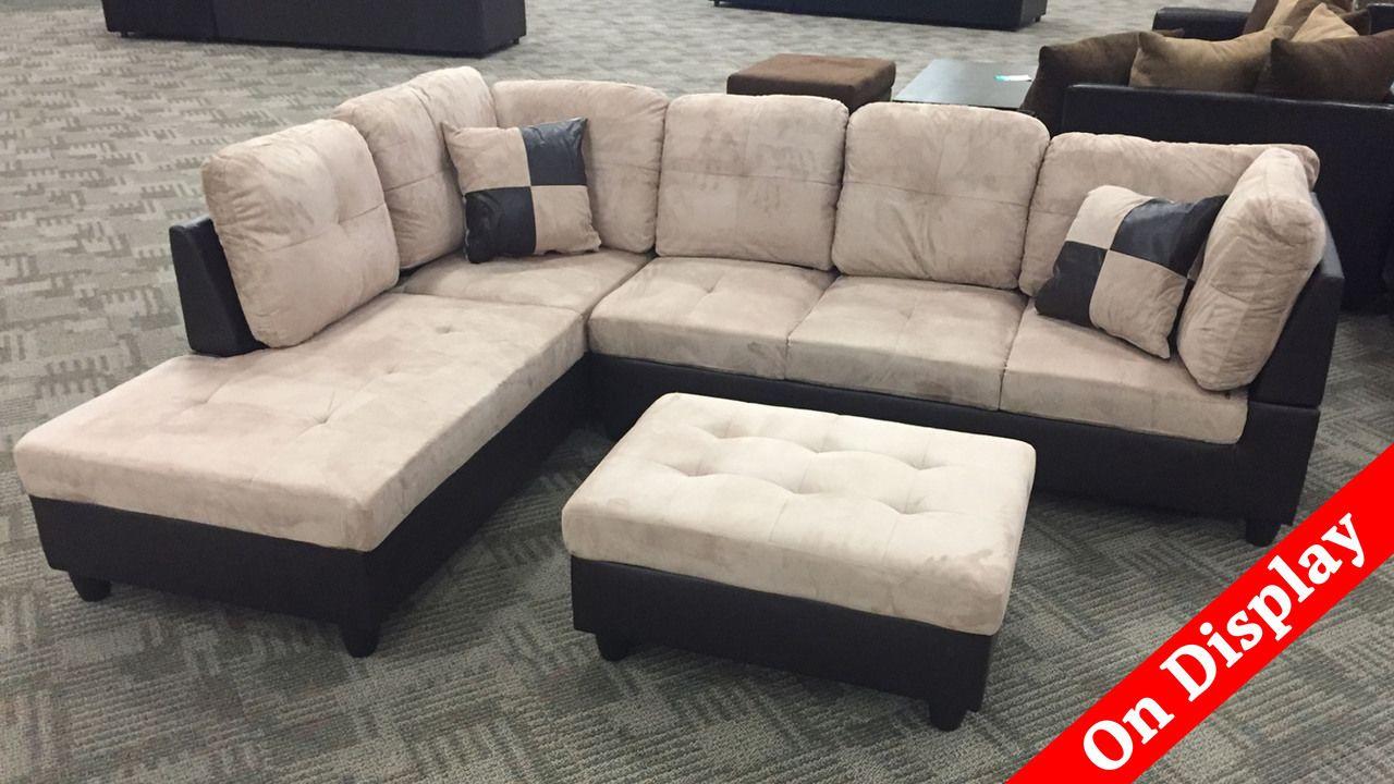 Black Tan Sectional With Storage Ottoman 3pc Phoenix Sofa