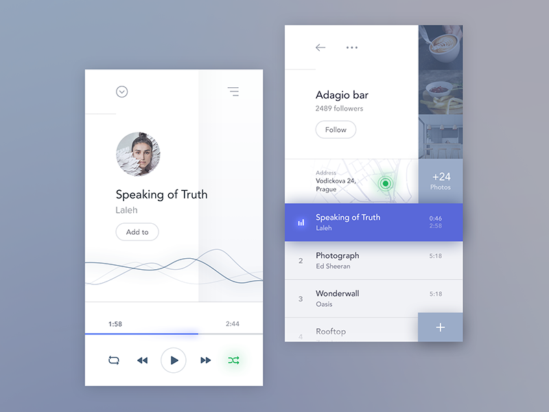 Concept for the Social music app project, which connects user's music with bars.  Behance Twitter Facebook