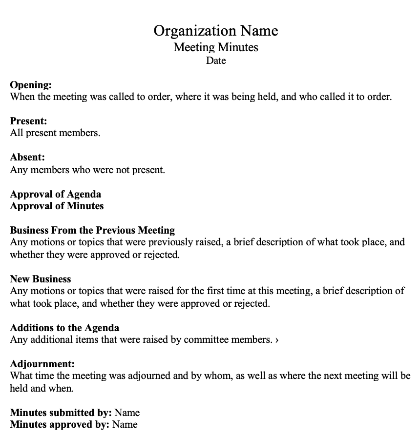 How To Write Effective Meeting Minutes With Templates And Samples Effective Meetings Formal Letter Template Formal Resignation Letter Sample