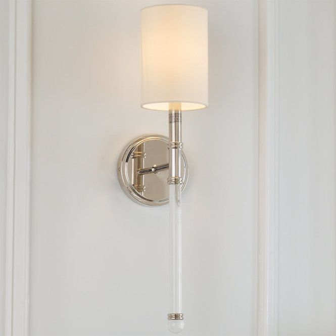 Bath Sconces With Shades slim silhouette single arm sconce | polished nickel, lights and bath