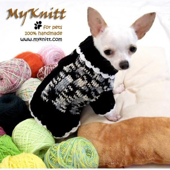 Black and White Knitted Dog Sweater Chihuahua Clothes DK851 by Myknitt (1) #myknitt #crichet #chihuahua #puppy