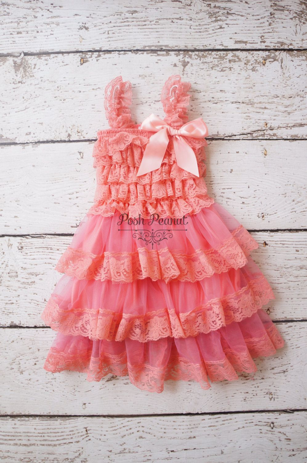 d4a8cffb7c01 Flower girl dresses coral flower girl dress by PoshPeanutKids ...