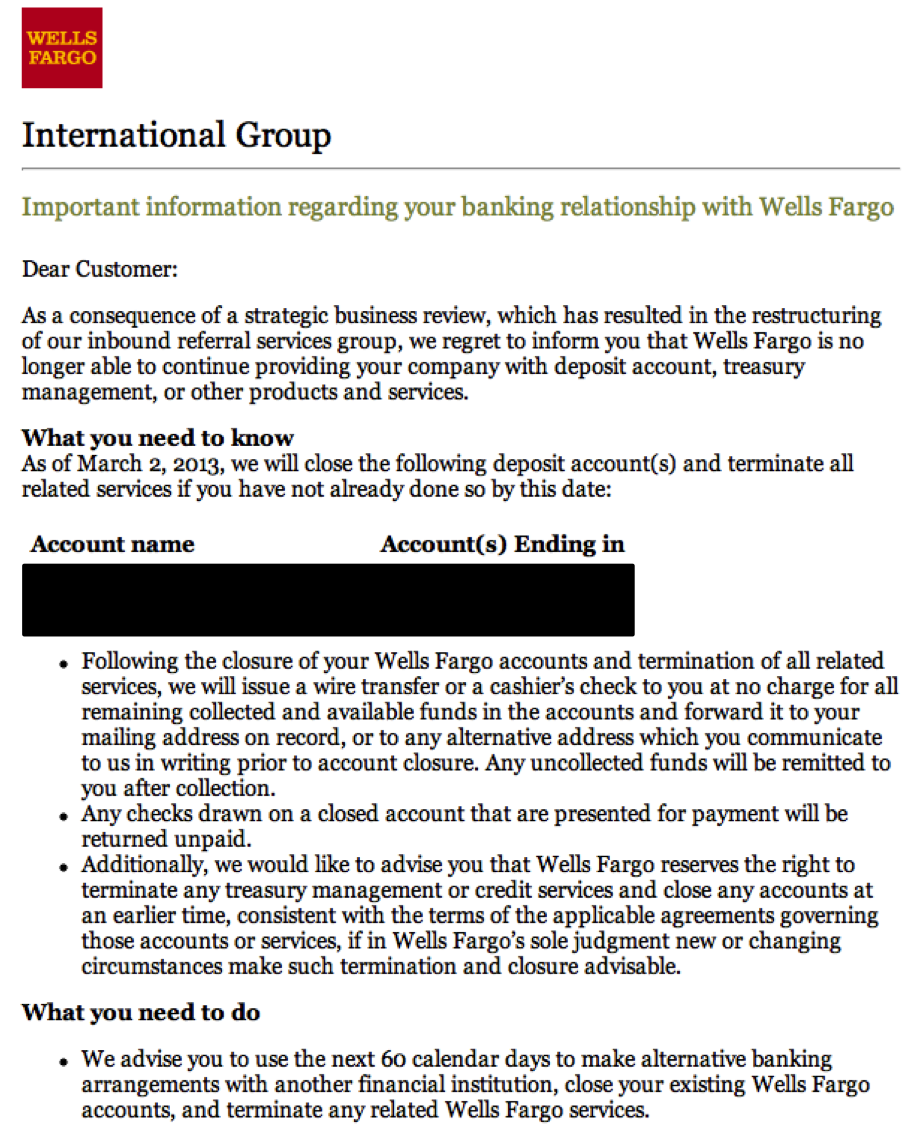 The wrong way to fire your customers wellsfargo customer firing – Letter of Firing