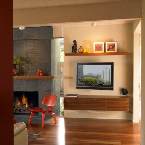 Slate Fireplace With Teak Mantel Floating Shelves And