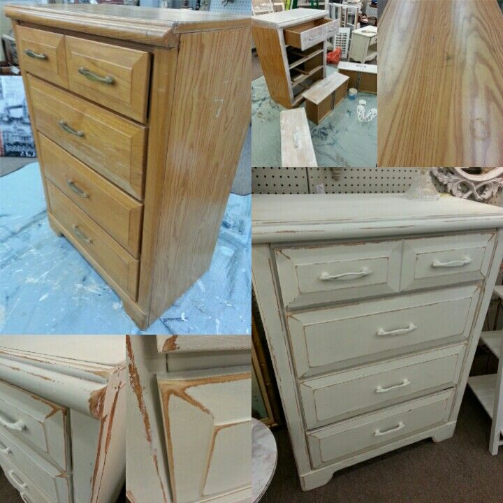 Chest of drawers before and after painted by Patina Chic on Facebook.