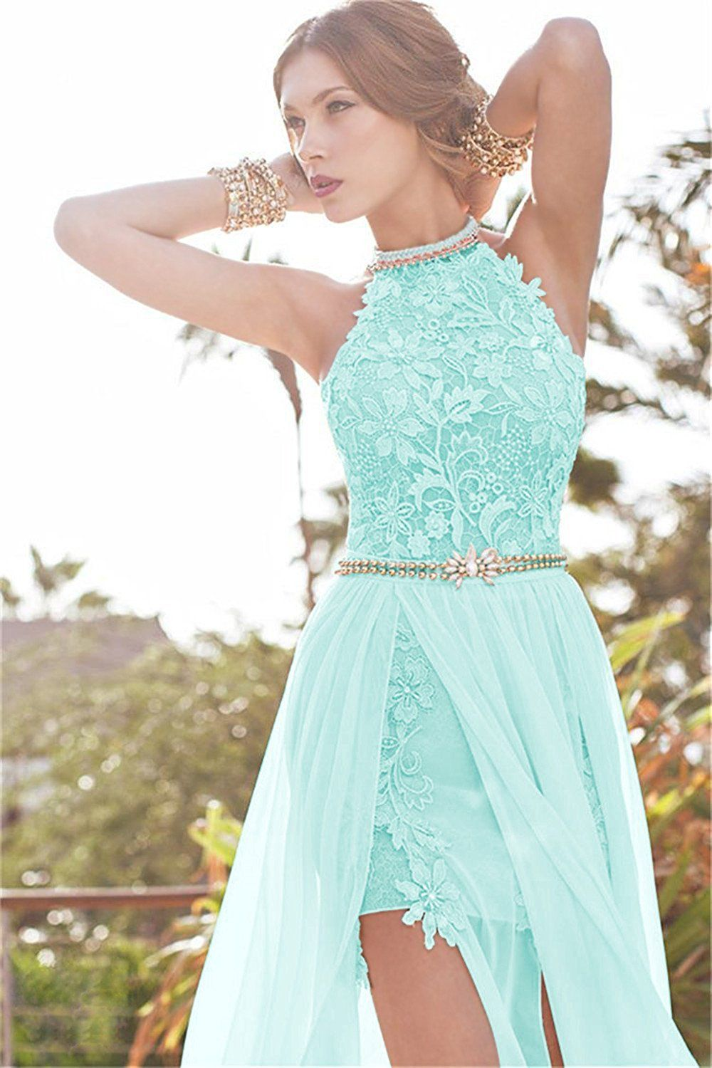 Babyonline Aqua Lace Semi Formal Dresses Long Evening Cocktail Gowns ...