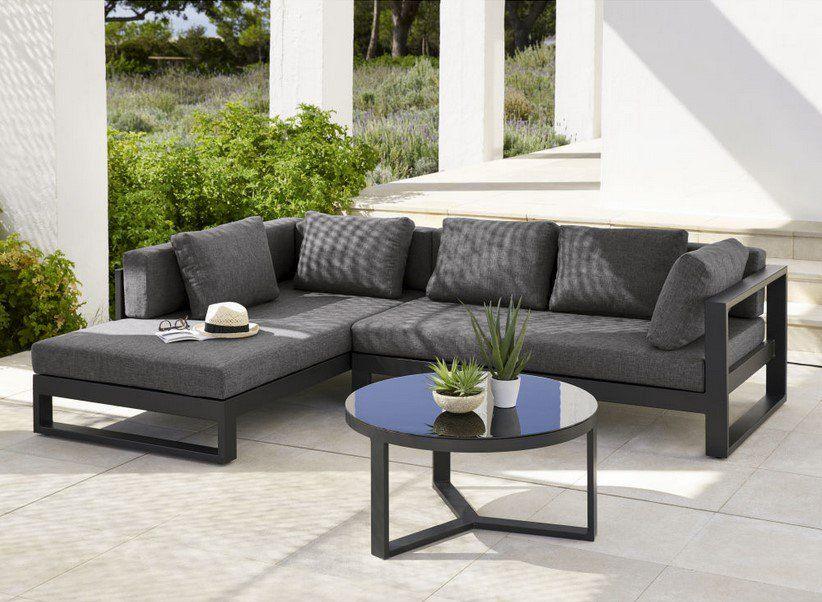 Canapé du0027angle de jardin 4 5 places Thetis en aluminium noir - salon d angle de jardin