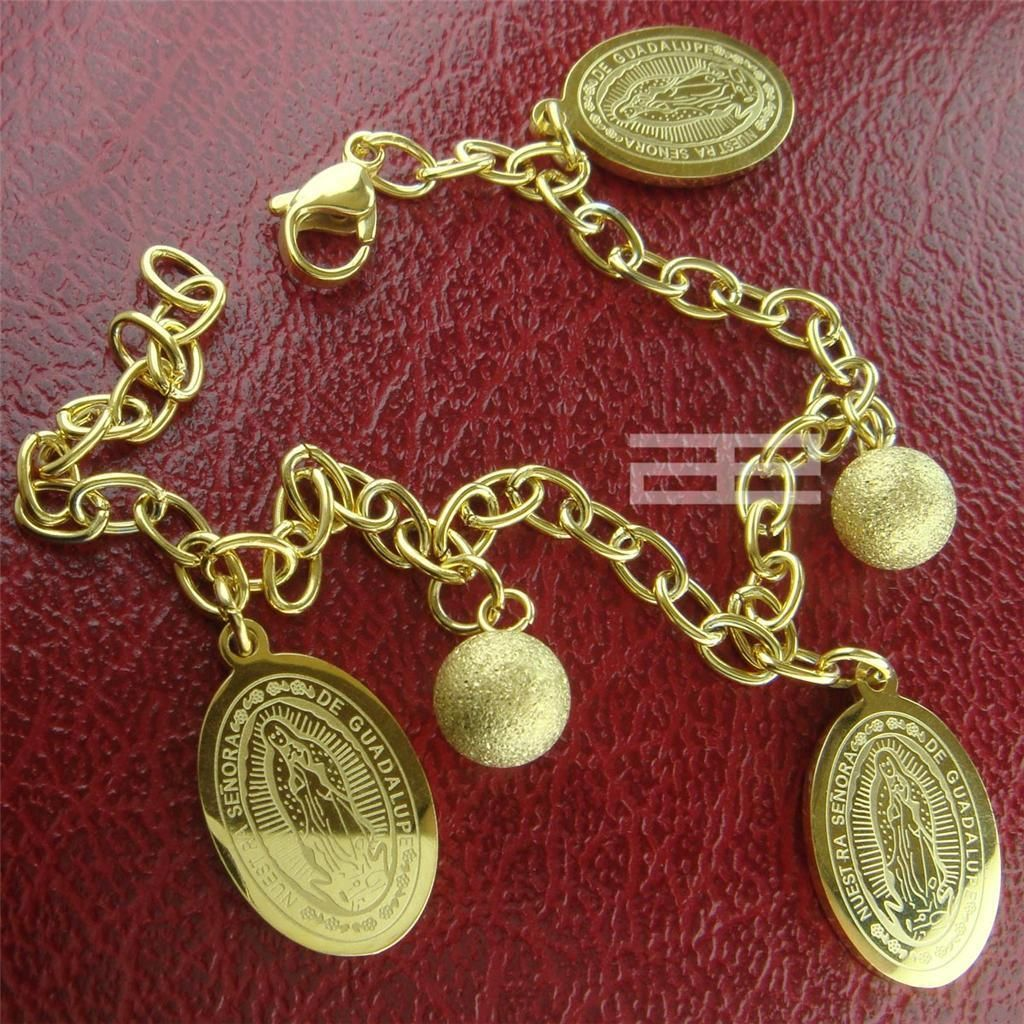 Women k ct yellow gold gp the virgin mary bracelet b