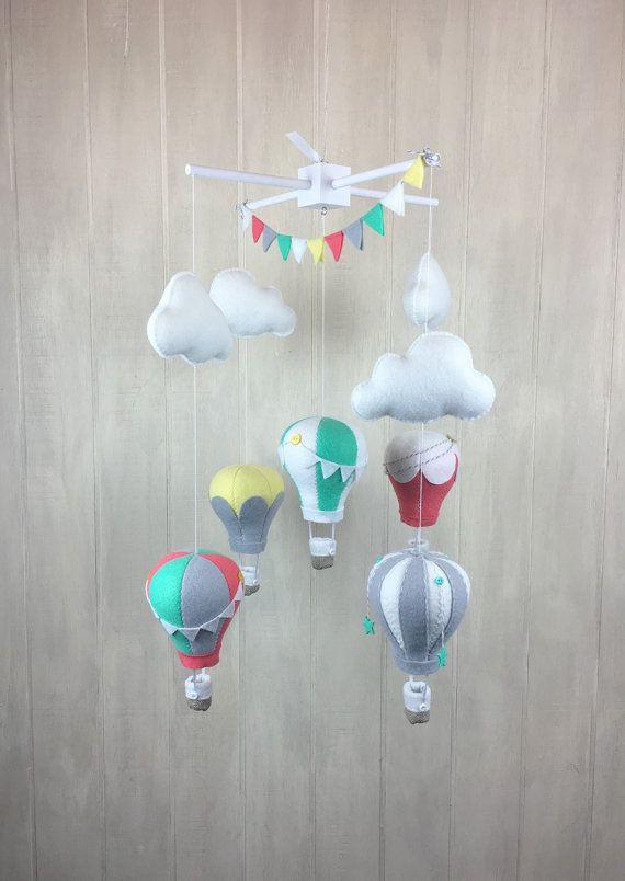 littleHooters nursery decor - hot air balloon mobile - cloud mobile - burning - nursery decor - available on easy