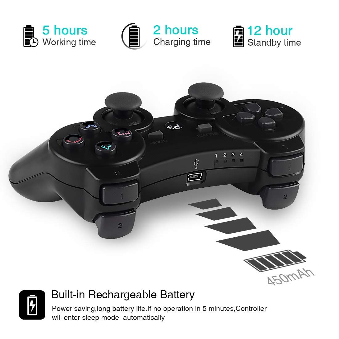 Kolopc 2 Packs Wireless Controller Gamepad Remote For Ps3 Playstation 3 Double Shock Bundled With Usb Charge Cord Black Wireless Controller Wireless Control