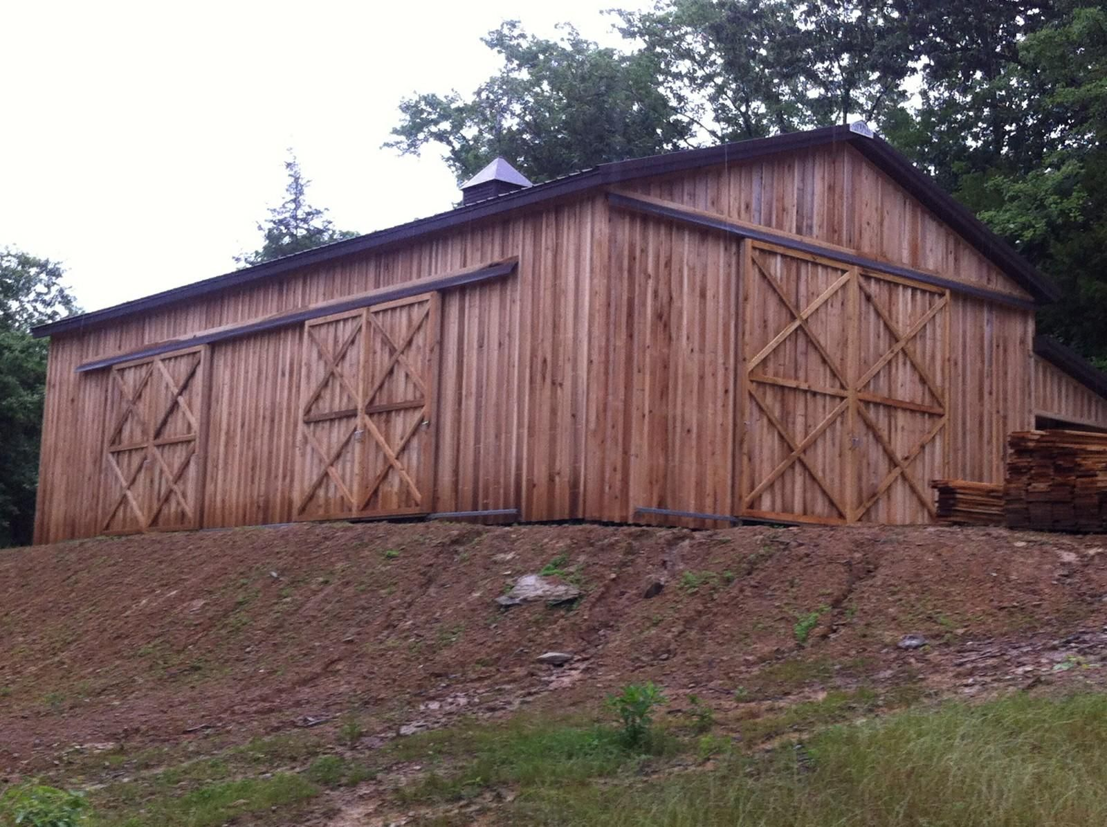 30x50x14 barn with 10x50 shed poplar siding www nationalbarn com