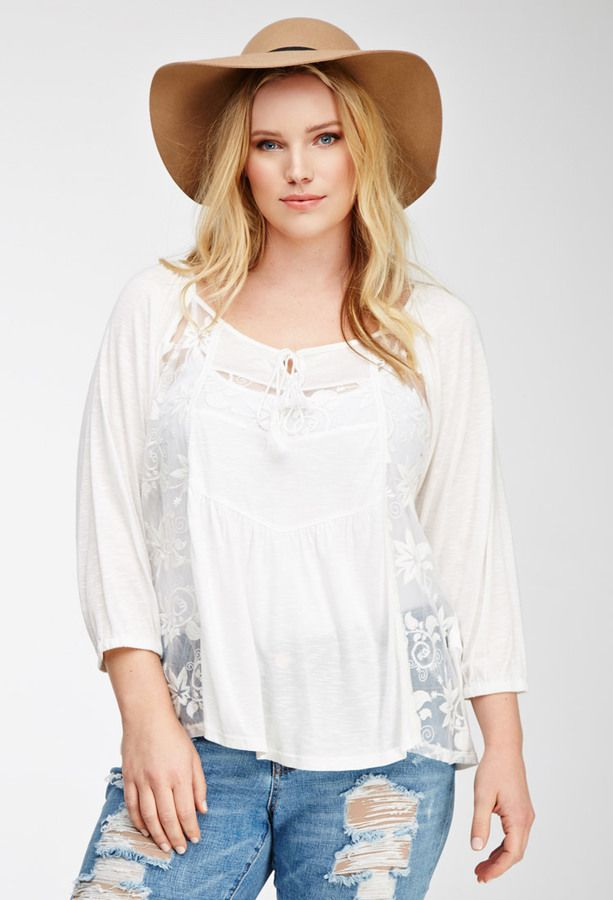 Plus Size FOREVER 21+ Embroidered Peasant Top
