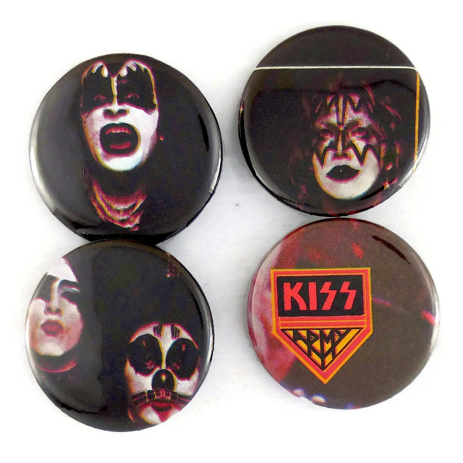 KISS Army Pins Original 70s Classic Rock Music Badges Gene Simmons Glam Buttons by JeepsterVintage on Etsy