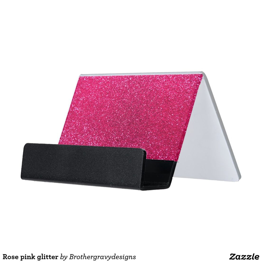 Rose pink glitter desk business card holder | Stylish Office Decor ...