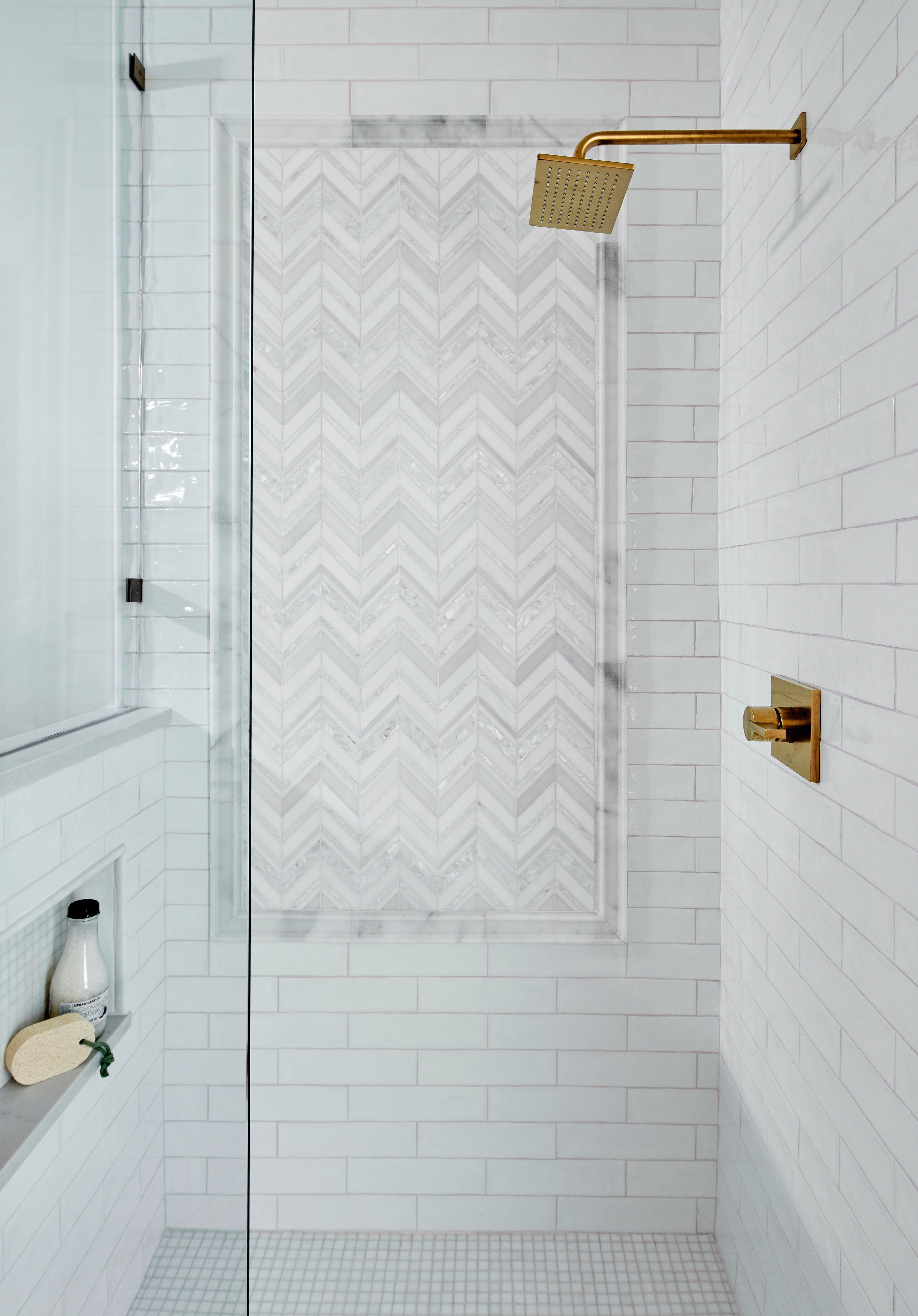 Herringbone Tile Shower Panel Waterfallcountertop This Modern Guest Bathroom Is A Work Of Art With Master Bathroom Remodel Shower Shower Tile Herringbone Tile