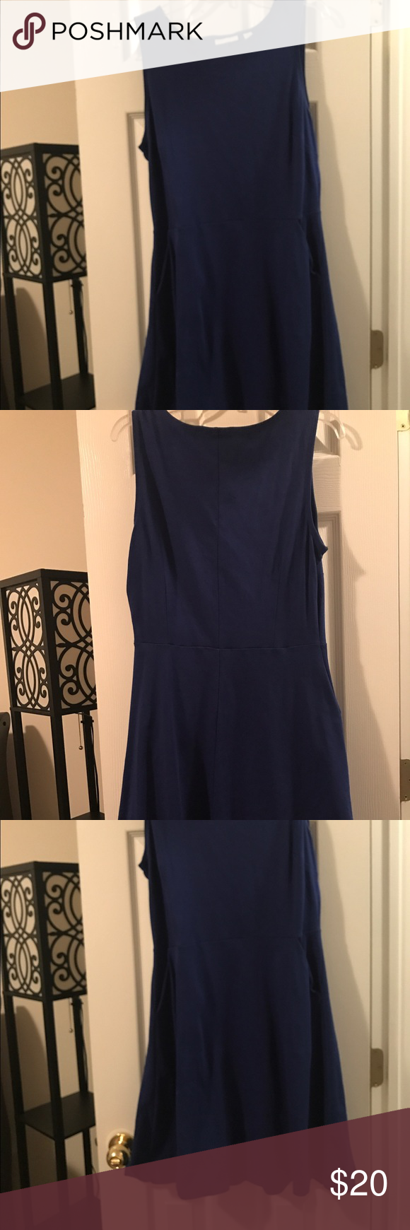 New York & Co Skater Style Cobalt Dress - Pockets! EUC New York & Co Skater Style Cobalt Dress - with Pockets!  This sleeveless dress is a stretchy cotton with a skirt that flares beginning at the waist seam shown in pictures.  It was only worn a few times over a turtleneck with tights for a winter layered look. New York & Company Dresses #cobaltdress