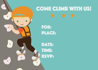 scrapbook style printables free rock climbing birthday party