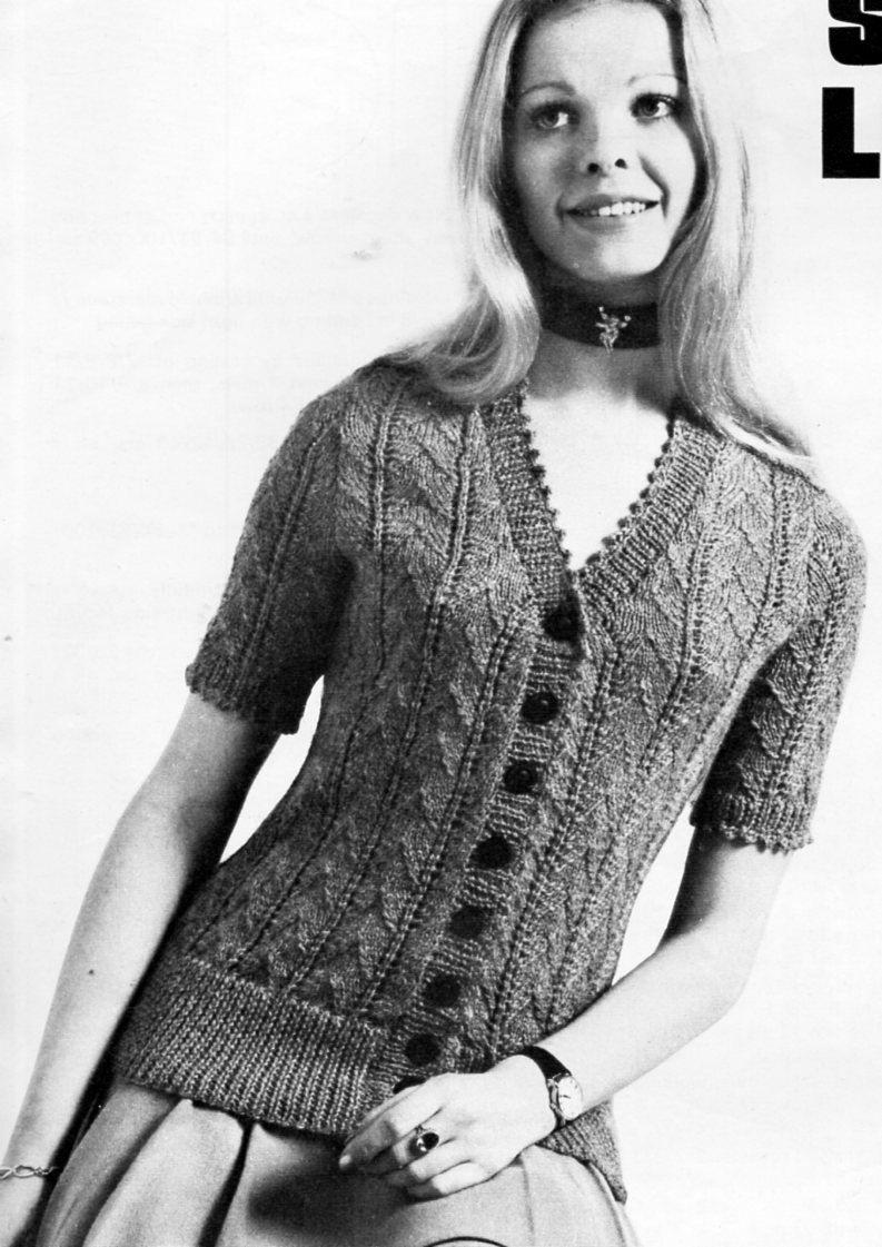 Vintage ladies cardigan knitting pattern pdf DK womens short sleeve ...
