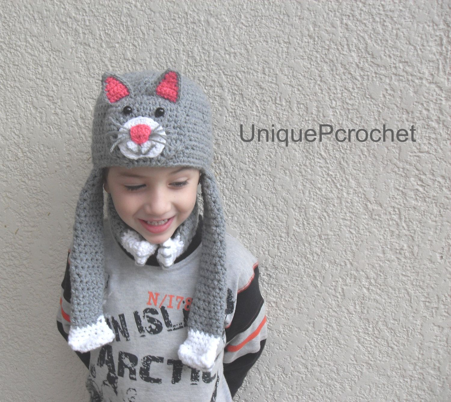 Funny hat cat with neck warmer and earflaps-Crochet PDF Pattern ...