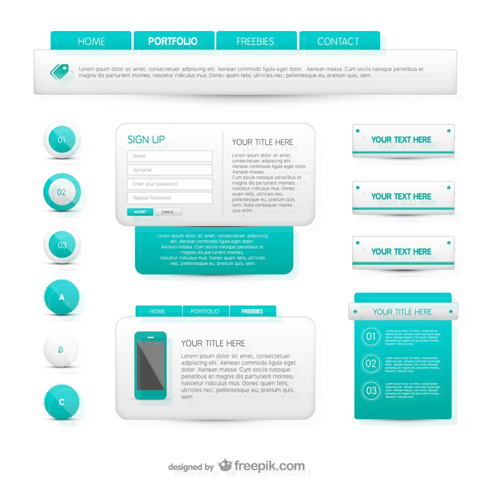 Turquoise And White Web Elements Free Vector Free Graphic Design Logo Elements