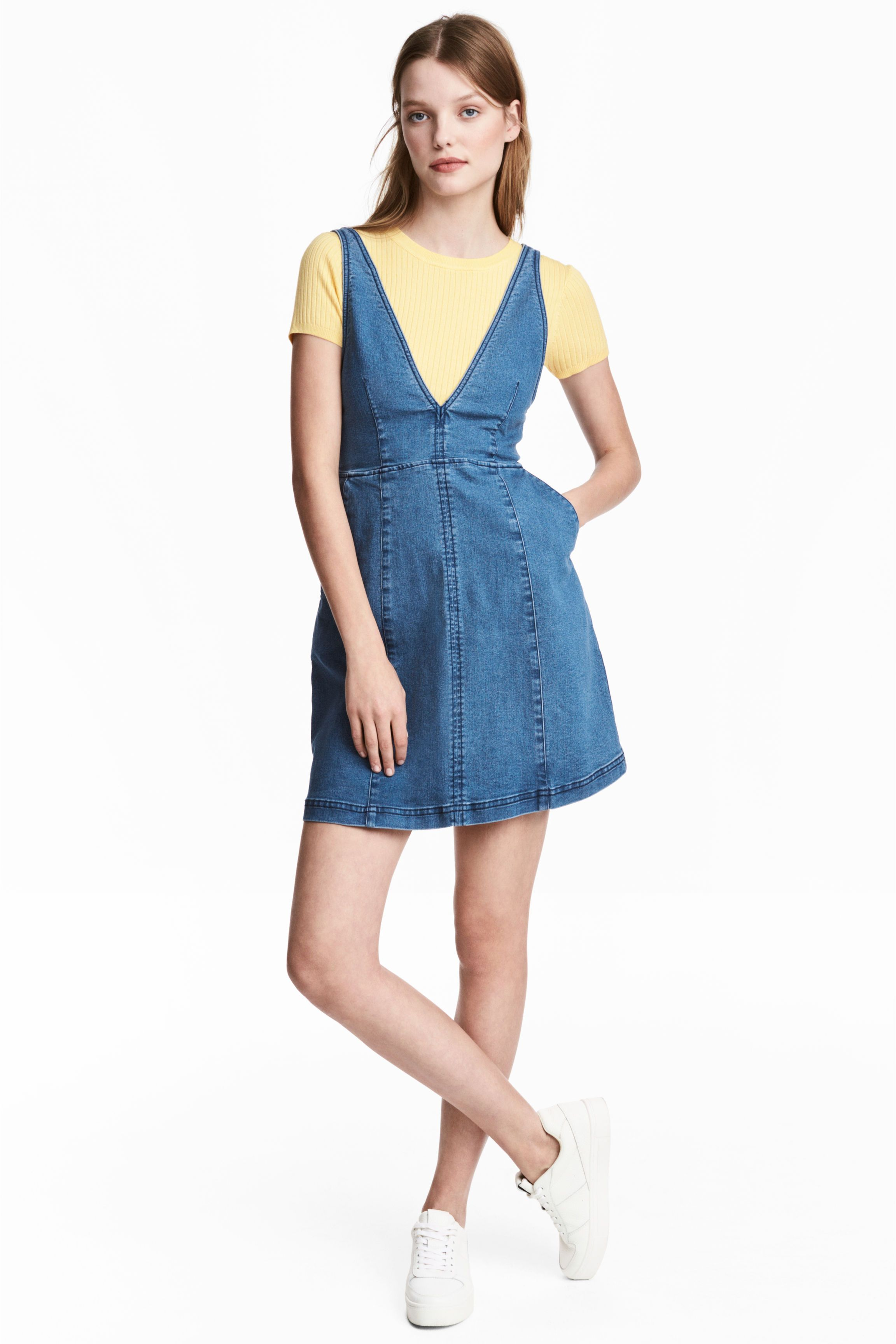 H&M Denim Pinafore Dress | LB Dresses SS18 | Pinterest | Denim ...