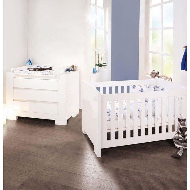 Chambre bébé Sky blanc Lit évolutif et commode à langer Pinolino